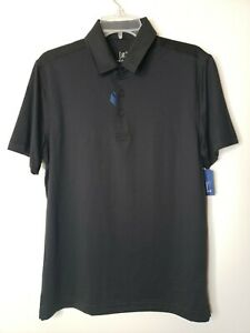 George Men's Poly Polo Shirt Size Small Black Moisture Wicking Sports