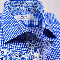 Men's Luxury Blue Plaid & Check Formal Business Dress Shirt Fine Elegance