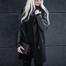 Women High Neck Zipper Patchwork Long Sleeve Leather Coat Winter Jacket Tops UK