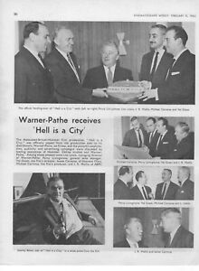 Film Trade Page Hell Is A City 1960 Hammer-Warner Pathe end of production