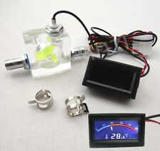 LED Thermometer 3 Way FlowMeter For Water Cooling Liquid Cooler System & 2 Barbs