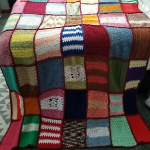 Vintage Handmade Multicolored Crocheted Afghan Throw Blanket Granny Squares