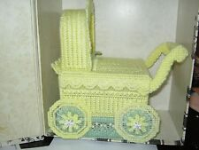 Handcrafted Plastic Canvas Baby Carriage Tissue Cover Shower Nursery Decoration