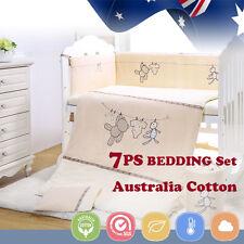 7pcs Baby Crib Bedding set Bumpers Quilt Pillow Cot Sheet Newborn Gift Bear New