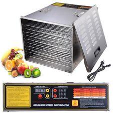 10 Tray Food Dehydrator Commercial Fruit Dryer Jerky Maker Stainless Steel 1200W