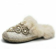Ladies Winter Slippers Shoes Indoor Stylish Fur Soft Pearl Beaded Design Slipper