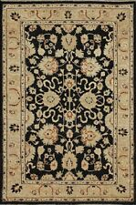 Traditional Hand-Knotted Oriental Persian Area Rug Black/Beige Color Size(4 x 6)