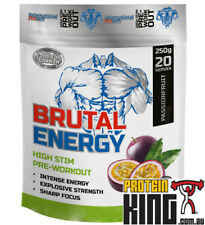 INTERNATIONAL PROTEIN BRUTAL ENERGY 250G PASSIONFRUIT HIGH STIM PRE WORKOUT BSC