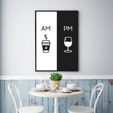 Am Coffee Pm Wine Sign Canvas Poster Prints Kitchen Wall Decor Art Painting