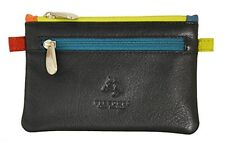 Visconti CP2 Navy Blue Multi Color Leather Coin Purse Mini Wallet Gift Men Women