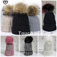 Womens Ladies Girls Winter Beanie Ski Knitted Hat Cap Large Fur Bobble Pom