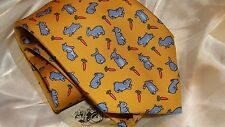 HERMES  silk tie, Rabbits and carrots from the whimsical collection,NEW in box