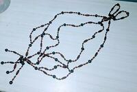 Vintage Hanging Beads [ Planter ? ] Decoration Holder Brown Wire 4 strand loop
