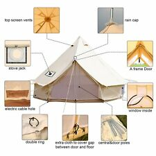 5 Meter Canvas Bell Tents Family Camping Glamping Waterproof Beige Mosquito Net