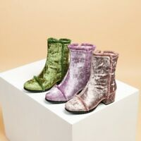Chic Womens Winter Lace Round Toe Block Mid Heels Velvet Ankle Boots Plus Size