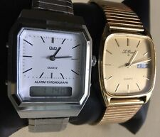 Men's Watches Le Gran S - Gold Tone Day-Date And Q&Q Silver Tone Lot Of 2 Work