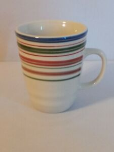 Gibson Everyday Multi Stripe Mug Coffee Cup Green Red Blue Coiled