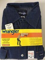 NOS Vtg Wrangler Denim Cowboy Western Work Shirt Pearl Snap Men 70127MW 16.5x34