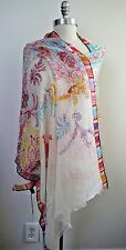 NEW LORO PIANA cashmere silk white with colors paisley floral print scarf shawl