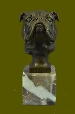 Collectible Statue bronze sculpture Animal English Bulldog Dog Head Bust Figure