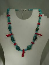 BUTW silver Natural turquoise & bamboo red coral necklace 5961C