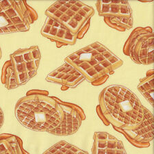 Delicious Waffles with Butter and Syrup Food Quilting Fabric FQ or Metre *New*