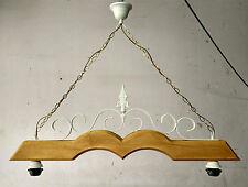 Lampadario in ferro battuto e legno 2 luci E27 stile Shabby Chic senza diffusori
