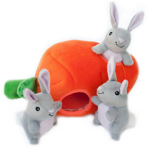 ZIPPY PAWS Burrows Bunny N Carrot Soft Plush Squeaky Dog Hide-A-Toy Puppys Dogs