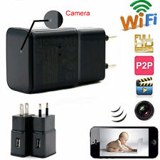 1080P WIFI USB SPY Camera Hidden Wall Phone Charger AC Adapter Plug DVR HD 32GB