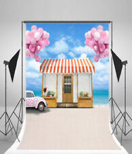 5x7ft Backdrop Beach House Car Wedding Photography Background Studio Photo Prop
