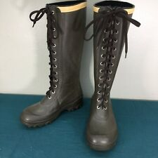 Used Tretorn Ballena Tall Lace Up Womens Knee High Rubber Muck Rain Boots sz 38