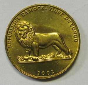 2002 One Franc Republic of Congo Nice BU Turtle and Lion Coin for the Collector