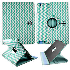 AQUA CHEVERON ANCHOR FOLIO CASE IPAD 2/3/4 360 ROTATING STAND TABLET COVER