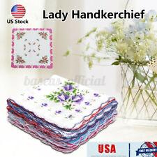 Us 20X Lot Ladies Women Retro Hankies Cotton Quadrate Floral Handkerchief Craft