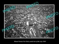OLD LARGE HISTORIC PHOTO OF MOUNT VERNON NEW YORK AERIAL VIEW OF CITY c1945 2