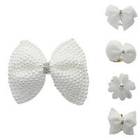 AU_ Women Faux Pearl Inlaid Flower Bow Tie Hairpin Edge Hair Clip Barrette Healt