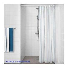 NEW IKEA OTTSJON Shower Curtain White / Blue Stripes 180cm x 180cm Bathroom