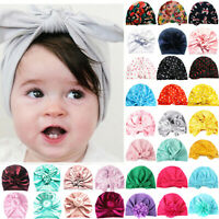 Toddler Baby Girls Big Bow Knot Hat Turban Headband Cap Cotton Headwrap Beanie