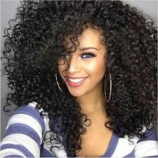 Natural Black Dark Kinky Big Curly Long Afro Women Full Hair Synthetic Wig Bangs