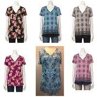 Croft & Barrow Women's Blouse short sleeve SHIRT V-Neck Tee Top S M L XL XXL (A)