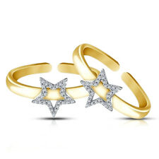 Ladies Vvs1 Diamond Fashion Star Adjustable Toe Ring 14k Yellow Gold Fn
