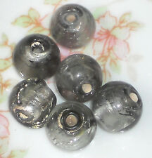 #1373  Vintage Glass Foil Beads Gray Round Artsy Art Gorgeous NOS 8mm Gun Metal