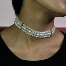 Collier Ras de Cou Perle 3 Rangs Cristal Elastique Retro Original Mariage JD 4