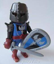 Playmobil Blue/black castle knight figure with cape, helmet, sword & shield NEW