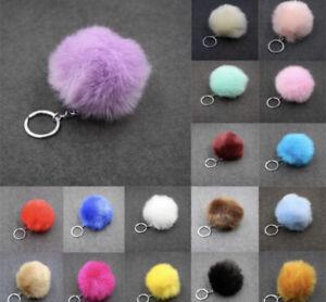 Faux Fur Keychain Charm Pompom HandBag Pendant Fluffy Rabbit Keyring Soft Puffy