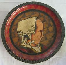 PAUL FOUILLEN QUIMPER DEPOSSE SIGNED BRETON WOMAN PYROGRAPHIC WOOD PLATE