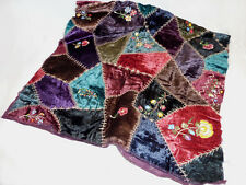 Embroidered Velvet 'Crazy Quilt' Fabric + Black Velvet + Cording * Make a Pillow