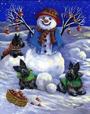 "Precious Pets Garden Flag - Scottie Snowman 12"" x 18"" ~ Charity!!"