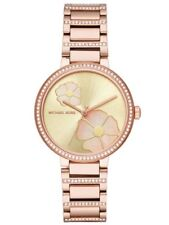 Michael Kors Women's Courtney Rose Gold-Tone Mother of Pearl Flower Watch MK3836
