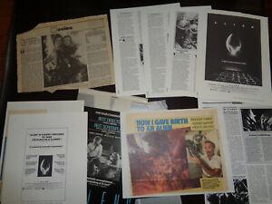 ALIENS 1986+ ORIGINAL MOVIE CLIPPINGS LOT ADS REVIEWS, PRESSBOOK PGS PROD NOTES+